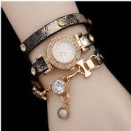Ladies Gold  Multilayer Cubic zirconia Leather Bracelet Wrist Watch Black